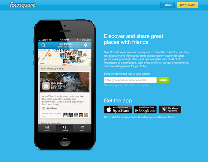 FourSquare Landing Page for mobile app prerelease buzz