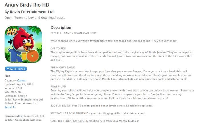 Angry Birds Rio description on iTunes- mobile app prerelease buzz