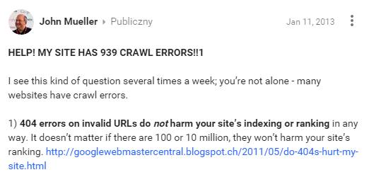 Website optimization - John Mueller about 404 redirects