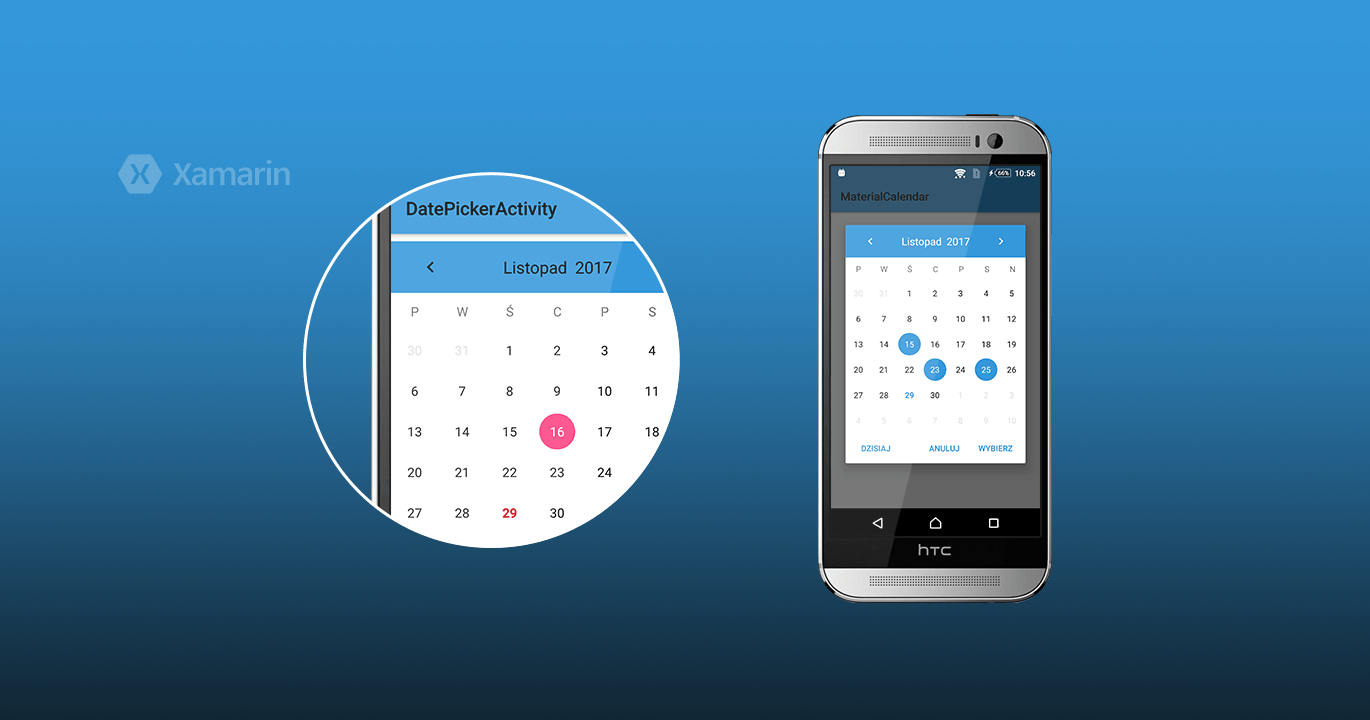 Customizable material calendar widget for Xamarin.Android platform